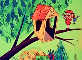 Screenshots from the 1958 UPA cartoon Trees and Jamaica Daddy