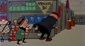 Screenshots from the 1958 UPA cartoon Gumshoe Magoo