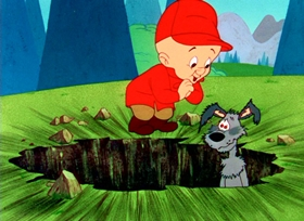 Screenshots from the 1959 Warner Brothers cartoon A Mutt in a Rut