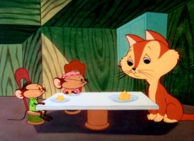 Screenshots from the 1959 Warner Brothers cartoon Mouse-Placed Kitten