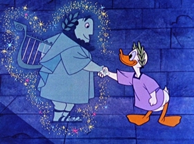 Screenshots from the 1959 Disney cartoon Donald in Mathmagicland