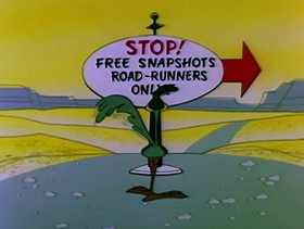 Screenshots from the 1959 Warner Brothers cartoon Hot Rod and Reel!