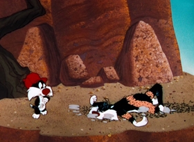 Screenshots from the 1959 Warner Brothers cartoon Cat