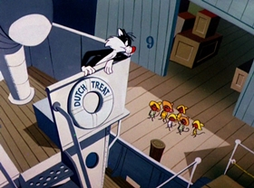 Screenshots from the 1959 Warner Brothers cartoon Here Today, Gone Tamale