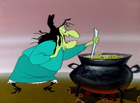 Screenshots from the 1959 Warner Brothers cartoon A Witch