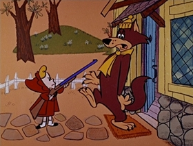 Screenshots from the 1959 Hanna-Barbera cartoon Wolf Hounded