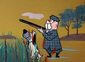 Screenshots from the 1959 Hanna-Barbera cartoon Duck in Luck