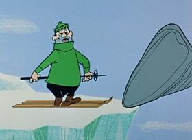 Screenshots from the 1959 Hanna-Barbera cartoon Ski Champ Chump