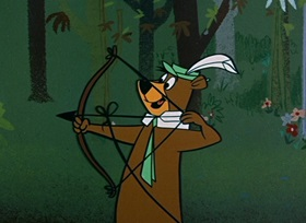 Screenshots from the 1959 Hanna-Barbera cartoon Robin Hood Yogi