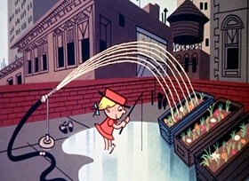 Screenshots from the 1959 UPA cartoon Picnics are Fun and Dino