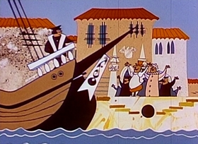 Screenshots from the 1960 New World Productions cartoon Christopher Columbus