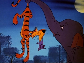 Screenshots from the 1960 Disney cartoon Goliath II