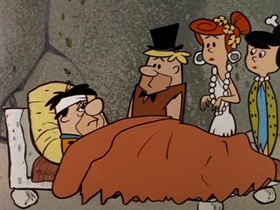 Screenshots from the 1960 Hanna-Barbera cartoon The Flintstone Flyer