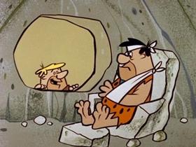 Screenshots from the 1960 Hanna-Barbera cartoon The Flintstone Flyer