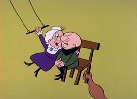 Screenshots from the 1960 UPA cartoon Night Club Magoo
