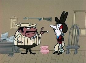 Screenshots from the 1960 UPA cartoon Saddle Battle