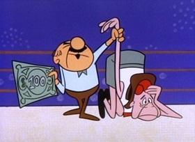 Screenshots from the 1960 UPA cartoon Rassle Hassle