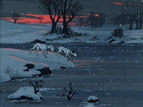 Screenshots from the 1961 Disney cartoon One Hundred and One Dalmatians