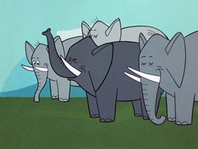 Screenshots from the 1961 Hanna-Barbera cartoon Paws for Applause