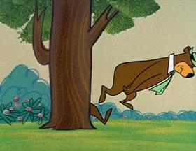 Screenshots from the 1961 Hanna-Barbera cartoon Love-Bugged Bear