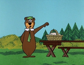Screenshots from the 1961 Hanna-Barbera cartoon Bearface Disguise