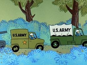 Screenshots from the 1961 Hanna-Barbera cartoon Bear Foot Soldiers
