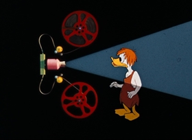 Screenshots from the 1961 Disney cartoon Donald and the Wheel