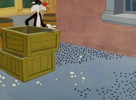Screenshots from the 1961 Warner Bros. cartoon Cannery Woe