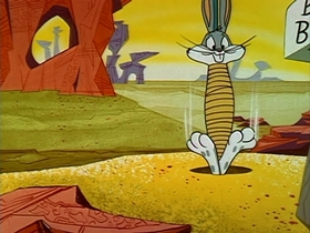 Screenshots from the 1961 Warner Brothers cartoon Compressed Hare