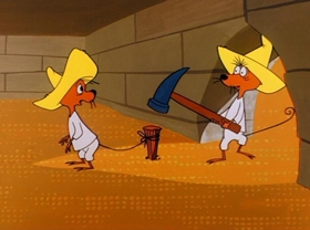 Screenshots from the 1961 Warner Brothers cartoon The Pied Piper of Guadalupe