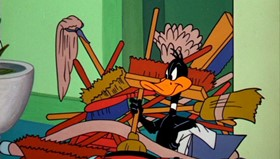 Screenshots from the 1961 Warner Brothers cartoon Daffy