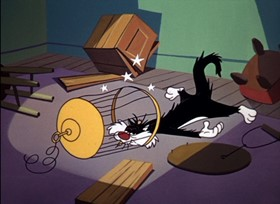 Screenshots from the 1961 Warner Brothers cartoon The Last Hungry Cat