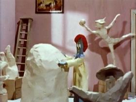Screenshots from the 1962 Clokey Productions cartoon The Glob