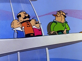 Screenshots from the 1962 Hanna-Barbera cartoon The Flying Suit