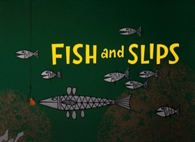 Screenshots from the 1962 Warner Brothers cartoon Fish and Slips