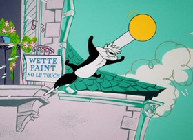 Screenshots from the 1962 Warner Brothers cartoon Louvre Come Back to Me