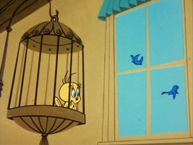 Screenshots from the 1962 Warner Brothers cartoon The Jet Cage