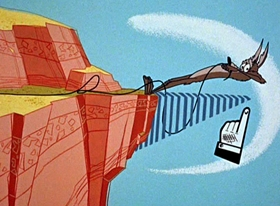 Screenshots from the 1962 Warner Brothers cartoon Adventures of the Road-Runner