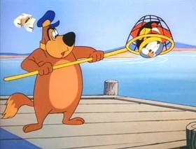 Screenshots from the 1963 Walter Lantz cartoon Salmon Loafer