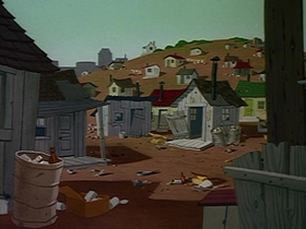 Screenshots from the 1963 Warner Brothers cartoon Fast Buck Duck
