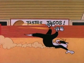 Screenshots from the 1963 Warner Brothers cartoon Mexican Cat Dance