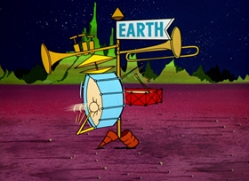 Screenshots from the 1963 Warner Brothers cartoon Mad as a Mars Hare
