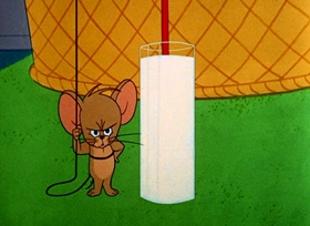Screenshots from the 1964 MGM cartoon Unshrinkable Jerry Mouse