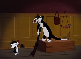 Screenshots from the 1964 Warner Brothers cartoon Freudy Cat