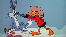 Screenshots from the 1964 Warner Brothers cartoon The Iceman Ducketh