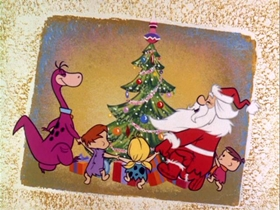 Screenshots from the 1964 Hanna-Barbera cartoon Christmas Flintstone