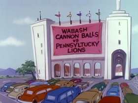Screenshots from the 1964 Hanna-Barbera cartoon Gridiron Gorilla