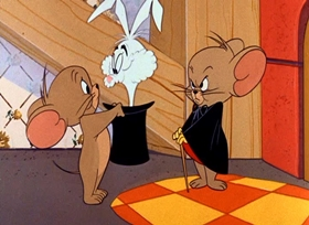 Screenshots from the 1965 MGM cartoon Haunted Mouse