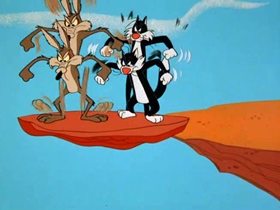 Screenshots from the 1965 Warner Brothers cartoon The Wild Chase