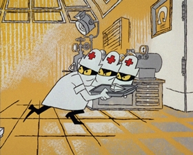 Screenshots from the 1965 DePatie Freleng cartoon The Great DeGaulle Stone Operation